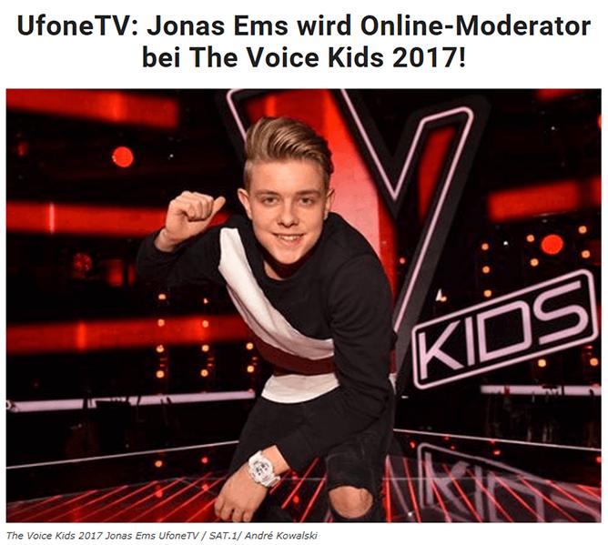 The Voice Kids Jonas Studio71